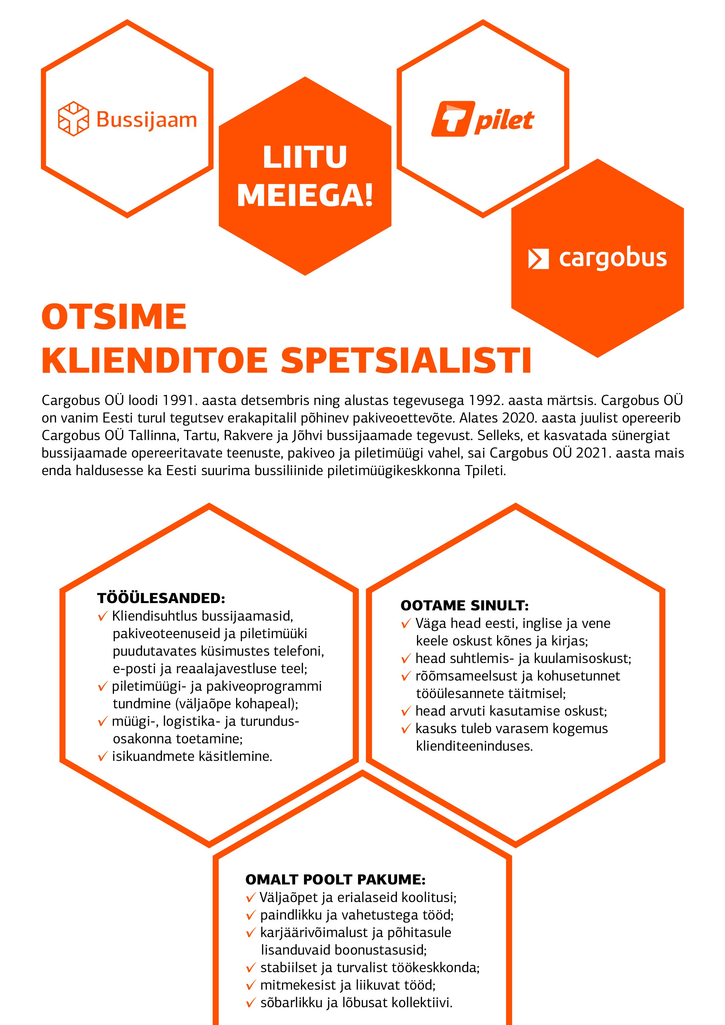 Klienditoe spetsialisti tööpakkumine Tallinnas