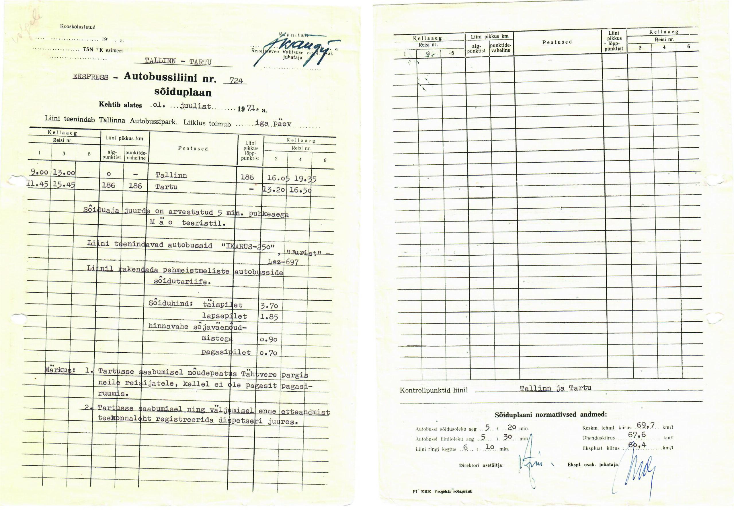 1971. aasta sõiduplaan